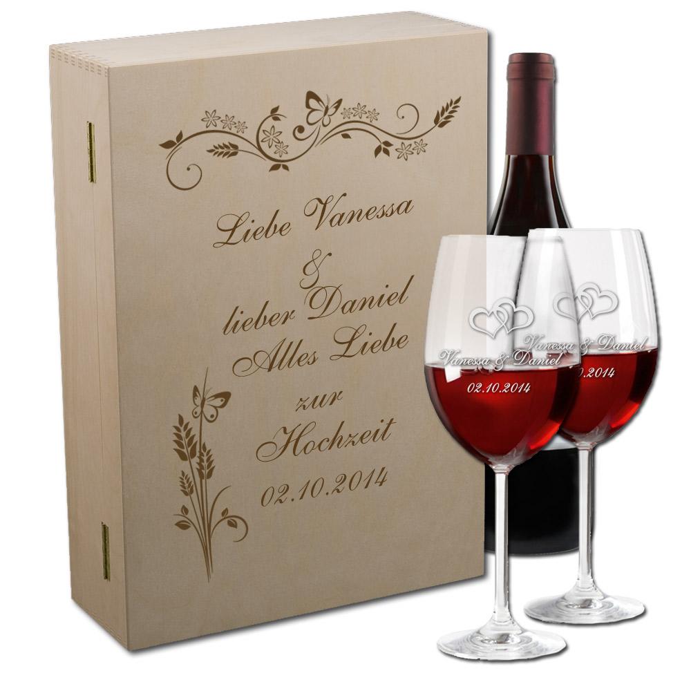 Rotwein-Set mit Gravur zur Hochzeit