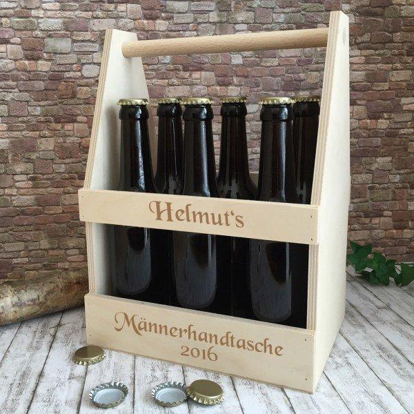 Bierträger / Männerhandtasche mit Gravur