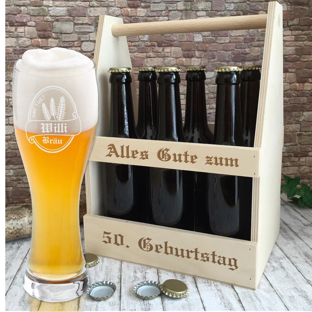 Bierträger mit Weizenglas mit Gravur