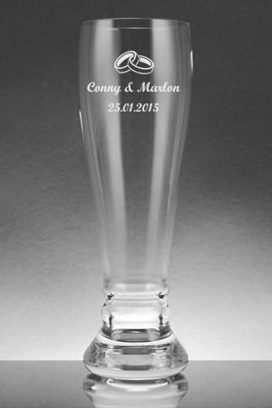 Weissbierglas graviert mit Ringen