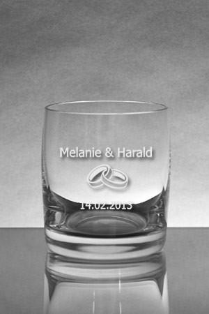 Whisky Glas mit Gravur Ringe