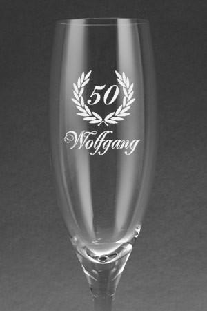 Sektglas mit glasgravur