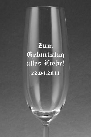 Sektglas [DIVA] mit Text graviert