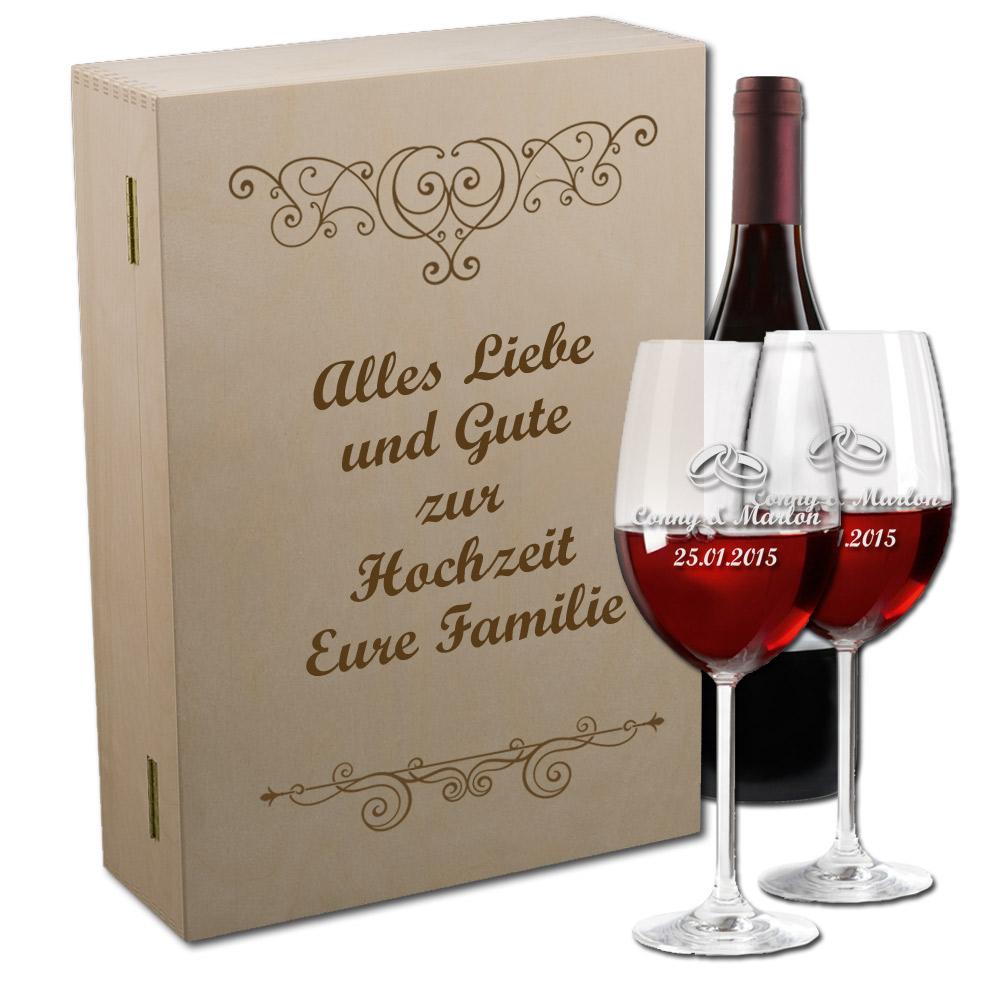 Weinglas mit Gravur im Set