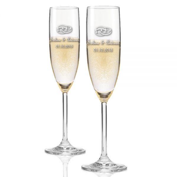 2x Sektglas [LEONARDO] mit Hochzeitsmotiven graviert