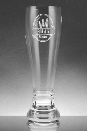 Weissbierglas mit Gravur Bierlogo