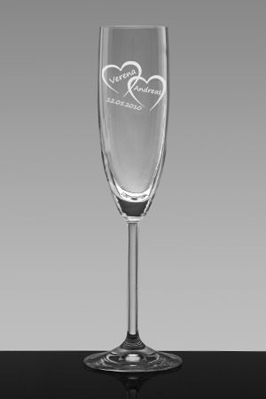 Sektglas mit Gravur Herzen
