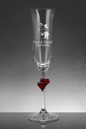 Sektglas als Hochzeitsgeschenk