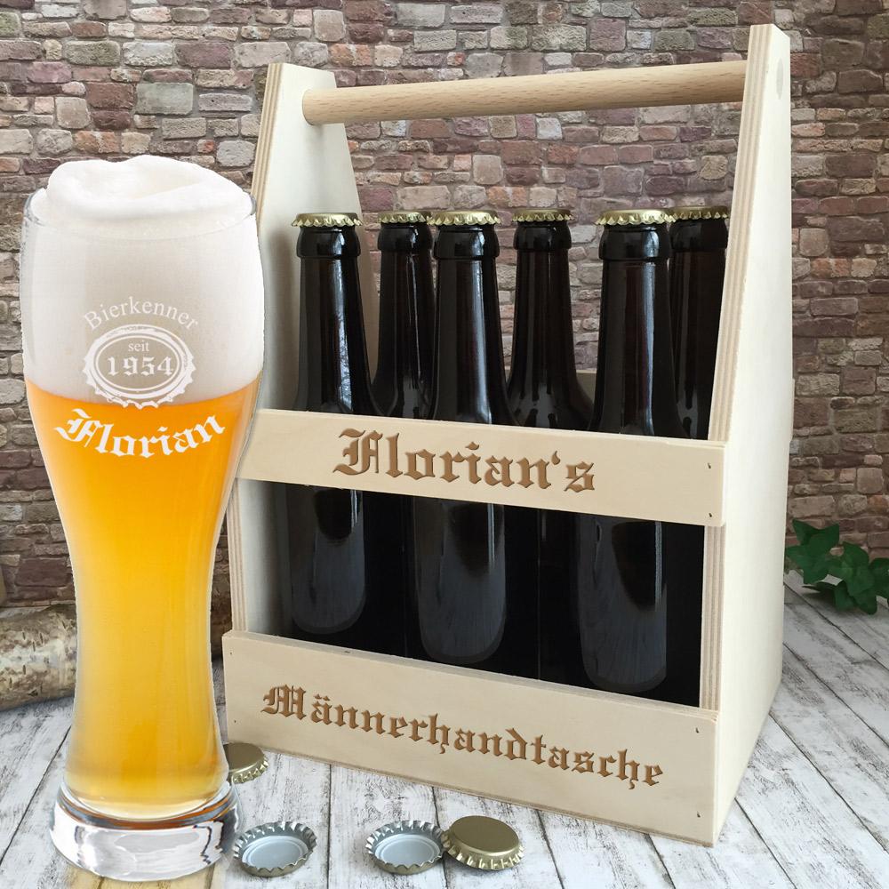 Bierglas mit Gravur und Bierträger