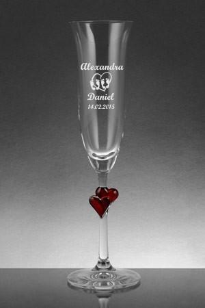 Sektglas Lamour rot mit Herzen