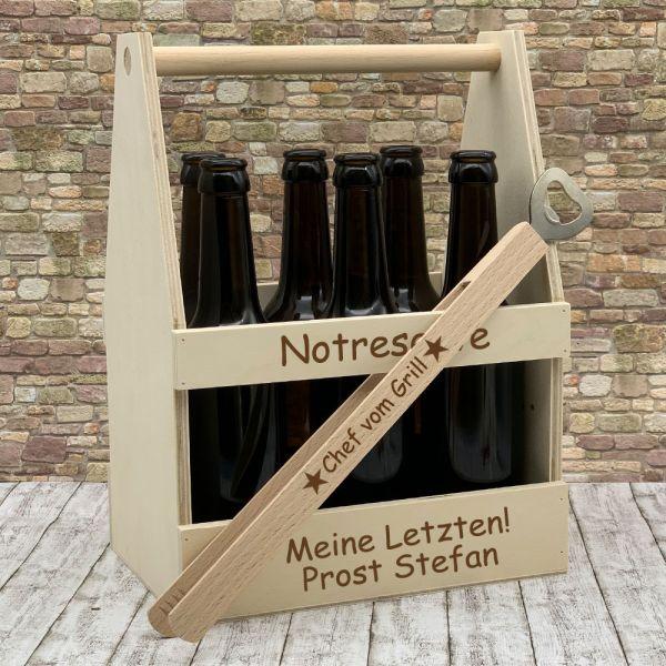 Set Bierträger graviert und Grillzange mit Spruch